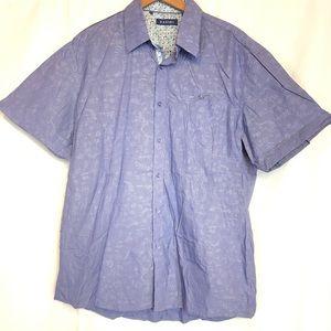 Zagiri sz XL blue short sleeve button front shirt